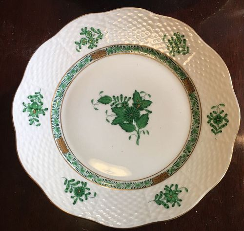 Beautiful Herend Chinese Bouquet Green set of 12, 8 in plate
