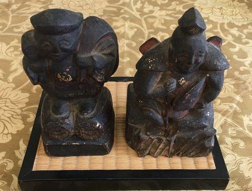 Antique Japanese Ebisu Daikoku folk art wooden carving