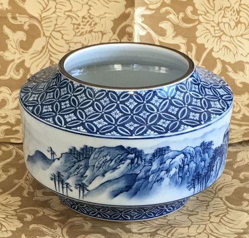 Fine Japanese studio HP landscape vase singed