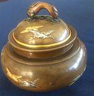 Wonderful Japanese mixed metal bronze silver gold inlay Koro