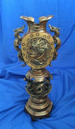 Japantique bronze inlay mix metal dragon Okimono Meiji Era
