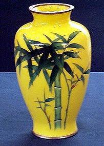Japanese Ando cloisonne  bamboo vase