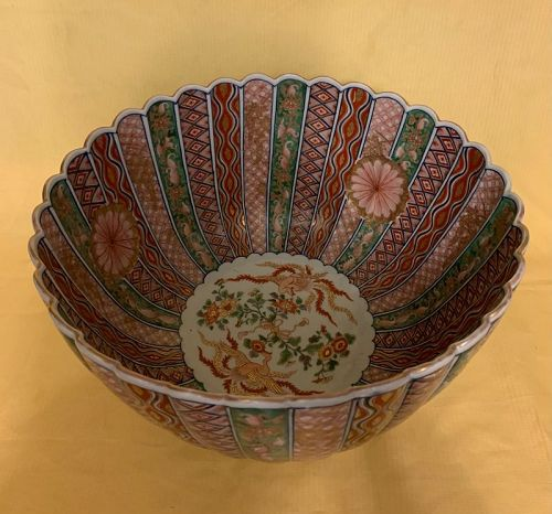 Huge Beautiful Japanese Imari bowl with dragon
