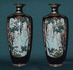 Japanese Golden age Cloisonne  pair vase