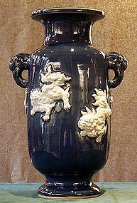 Japanese Imari Seto blue & white shihsi lion vase Meiji
