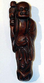 japanese Netsuke happy man with monkey