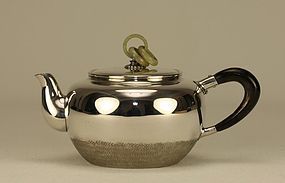 Japanese Silver Teapot w JADE Rings
