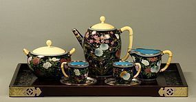 Japanese Cloisonne Enamel Tea Set on Copper