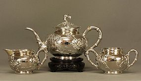 Chinese Silver Tea Set KWAN WO Canton Signed