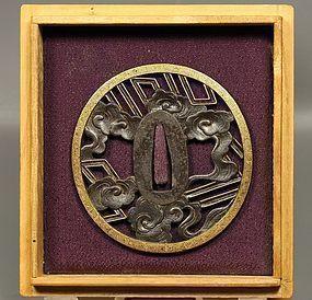 Japanese Edo Tsuba Maru Gata iron w GOLD