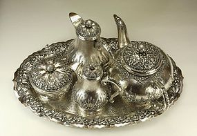 Yogya Silver Tea Set MOELJODIHARDJO c1935 Signed