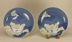 Japanese Nabeshima Dish Flowers w Blue Background
