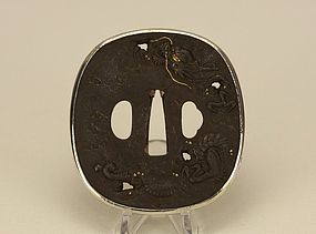 Japanese Edo Tsuba w Flying Dragon