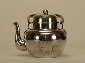 Japanese Silver Teapot c19th Century