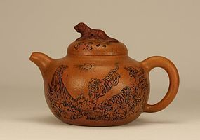Chinese Yixing Zisha Clay Teapot w Tigers Signed