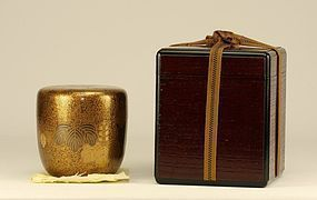 Japanese Lacquer Tea Caddy MAKIE Paulownia Natsume