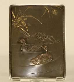 Japanese Silver Box w Ducks Nice  Etched & Signed