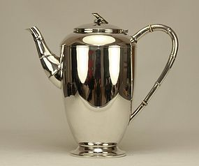 Japanese Lg Sterling Silver Teapot Signed