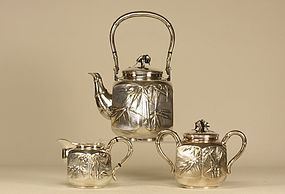 Japanese Silver Tea Set Signed MUSASHIYA YOKOHAMA