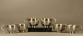 Chinese Six Silver Dragon Teacups Stamped & Marked