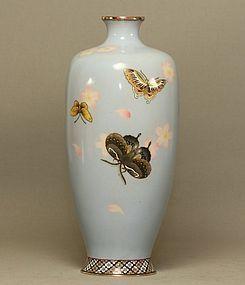 Japanese Cloisonne Vase w Butterflies & Cherry Blossoms