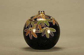 Japanese Cloisonne Vase w Flowers & Bulb Shaped