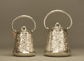 Chinese Silver Tea Creamer & Sugar Pot c19th Signed T90