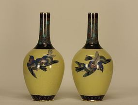 Japanese Cloisonne Enamel Vase Pair w Swallows