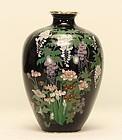 Japanese Cloisonne Vase w WISTERIAS IRIS ROSES & MUMS