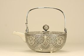 JAPANESE SILVER CHOSI SAKE POT w CHRYSANTHEMUM SEAL