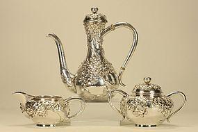 Japanese Sterling Silver CHRYSANTHEMUM Tea Set Marked