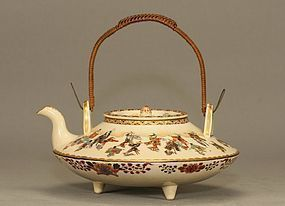 JAPANESE SATSUMA TEA POT w FESTIVAL Signed