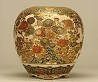 Japanese SATSUMA FLOWERS VASE Meiji Period