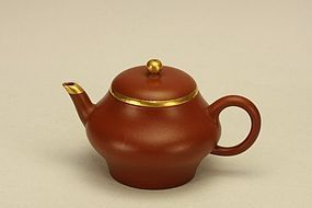 Chinese Yixing Teapot MENGCHEN w Gold Mounted & Signed