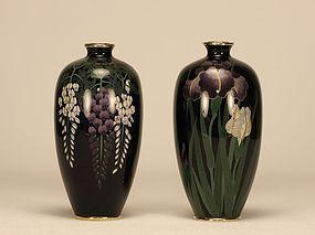Japanese Pair Cloisonne Vase w Iris Wisteria Flowers