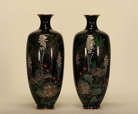 Japanese Pair Cloisonne Vases w Wisteria & Hydrangea