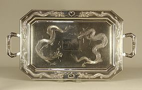 Chinese Silver DRAGONS Tea Tray Signed TUCKCHANG