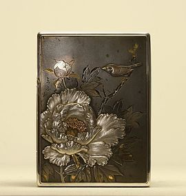 Japanese Silver Box w Roses & Brown Bird Signed
