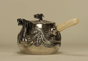 Japanese Silver Teapot w Relief Dragon Spout & Lid