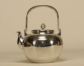 Chinese Silver Teapot w Kettle Stand