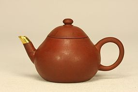 CHINESE YIXING PEAR SHAPED TEAPOT MENGCHEN & SIGNED