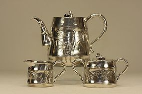 Japanese Silver Tea Set Bamboo Shaped Signed