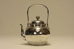 Chinese Silver Teapot Hexagon Shaped & Signed