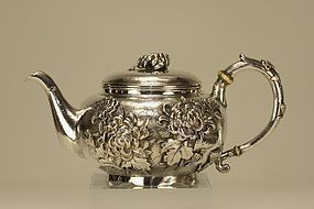 Japanese Silver Teapot Chrysanthemum Marked & Signed
