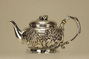 Japanese Silver Teapot Chrysanthemum Marked & Signed