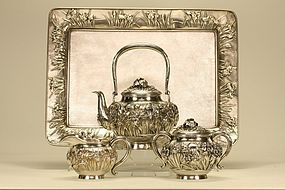 Japanese Silver Tea Set w Tray Irises Reliefs Signed
