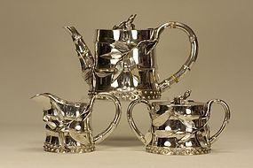 Japanese Silver Tea Set w Bamboo Design & Signed