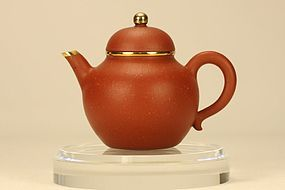 Chinese Yixing Teapot w Gold Mounted & Signed