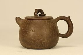 Superb Crackle Chinese Yixing Teapot Marked