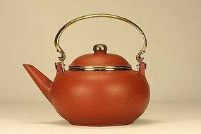 Chinese Yixing Teapot GONJU w Brass Mounted & Signed